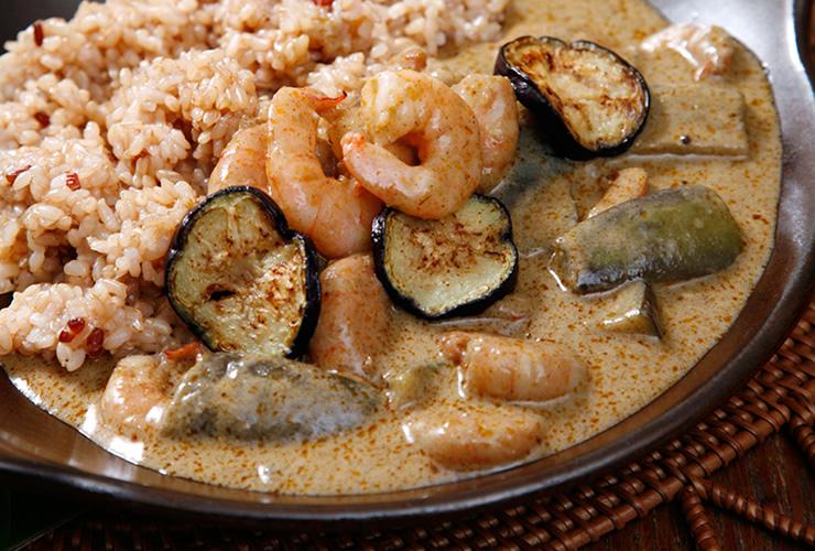 カレーの壺レシピ エビとなすのココナッツミルクカレー