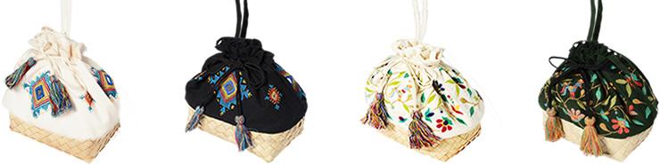 ミラー刺繍とカンボジアパームのショルダーポーチ入荷