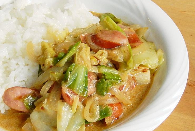 カレーの壺レシピ ウインナーキャベツカレー