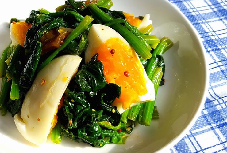 ほうれん草とゆで卵のサラダ