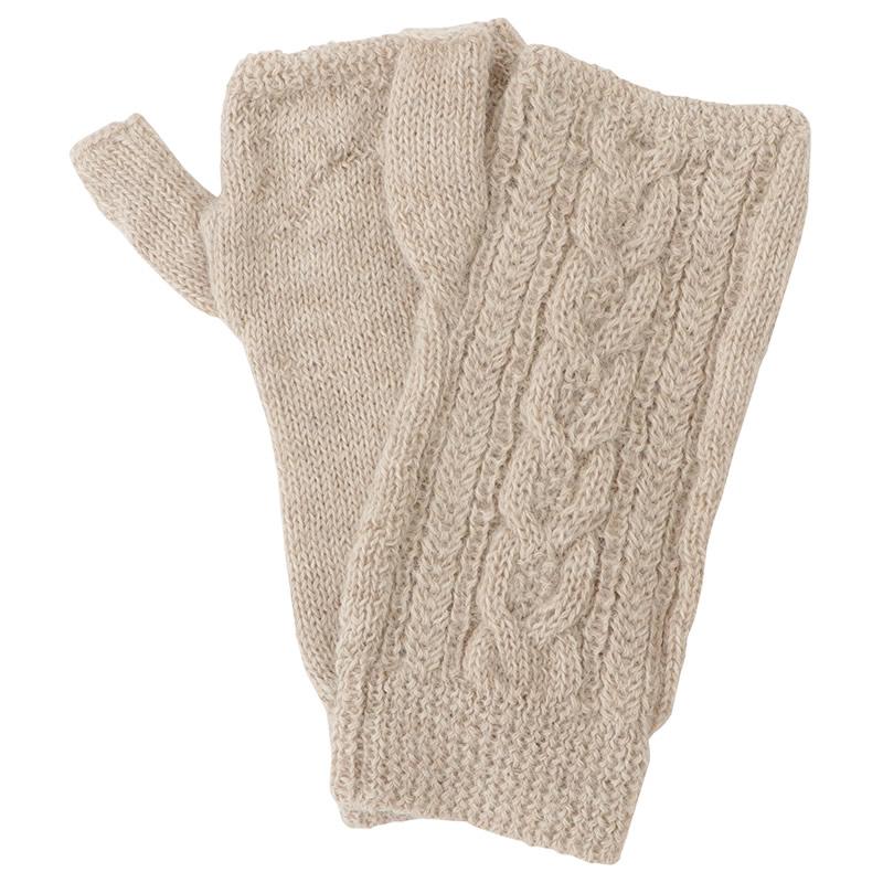 ケーブル編み指なし手袋