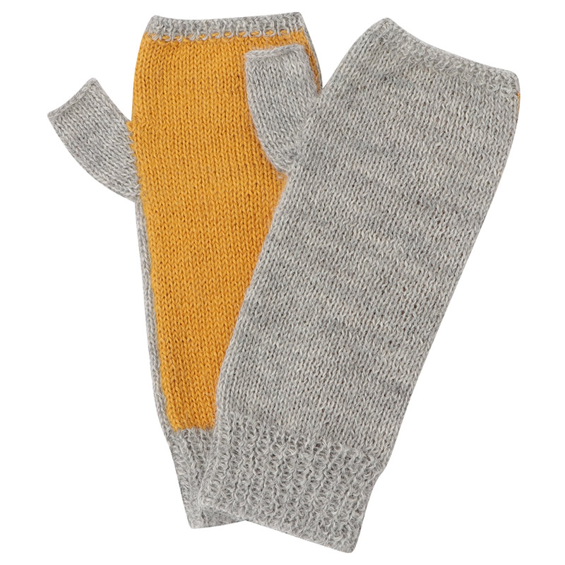 メリヤス編み指なし手袋