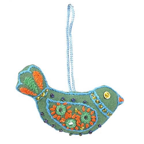 ミラー刺繍オーナメント 鳥